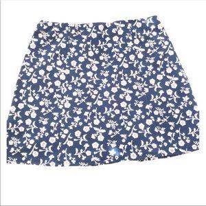 Hollister Navy Blue & white floral mini skirt